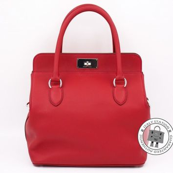 MINT Hermes Toolbox 26 Vermillion Evergrain Shoulder Bag Phw MPRS stamp T