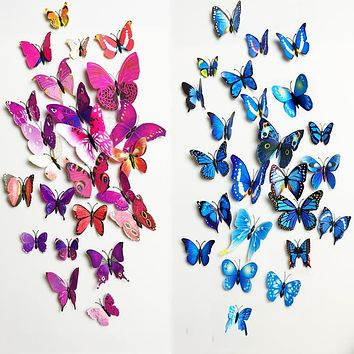 12pcs PVC 3d Butterfly wall decor cute Butterflies wall stickers art Decals home Decoration