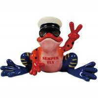 Red and Blue Marine Frog Statue with Semper Fi Motto Waving Peace Sign