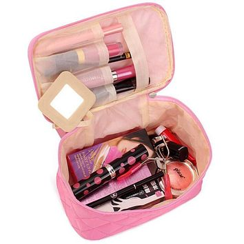 Women Travel Cosmetic Bags Diamond Lattice Zipper Men Makeup Bags Organizer Beauty Toiletry Bag Bath Wash Make Up Kits Case