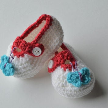 Butterfly Baby Booties, Crocheted Crib Shoes, Adorable New Baby or Baby Shower Gift