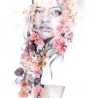 Waterfall. Girl with flowers double exposure.