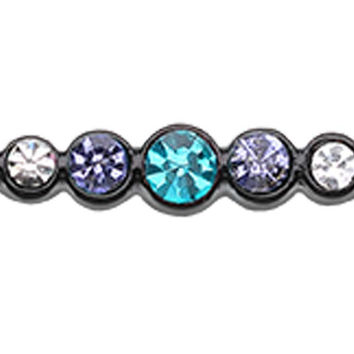 Blackline PVD Dazzling Glass-Gem Row Industrial Barbell