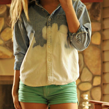 Dip Dyed Denim Shirt by MisceFabulous on Etsy