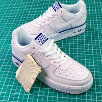 Nike Air Force 1 Low Af1 White / White-blue Sport Shoes - Best Online Sale