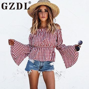 GZDL Red Plaid Long Flare Sleeve Women's Top Shirt Slash Neck Off Shoulder Blouse Casual Ruffles Beach Blusas Femininas CL3203