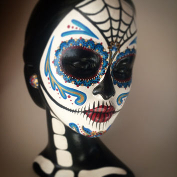 Day of the dead woman bust Sugar skull face painting sculpture skeleton female Dia de los meurtos woman hand painted art