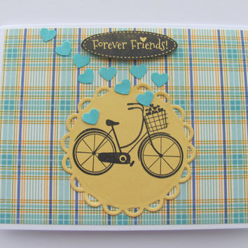 Forever Friends Card, Thinking of You, Bicycle, Hearts, Yellow