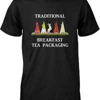 Traditional Breakfast Tea Packaging Humor T-Shirt Funny Graphic Tee for Men