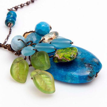 Blue and Green  Multi Gemstone Pendant Necklace with Jasper, Larimar, Aqua Quartz, Chalcedony,Citrine,  Nature Jewelry