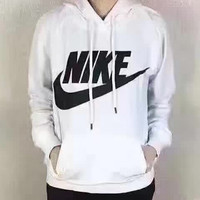 Nike: a Hoodie wearing women leisure sports cap printing lady student jacket