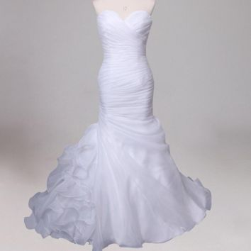 Organza Mermaid Wedding Dress Ruffles Sweetheart Sleeveless Pleats Bridal Gowns Design
