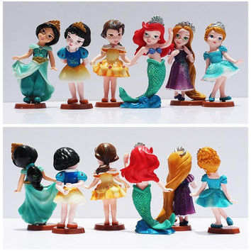 6pcs/set Princess Dolls Cinderella Snow White Rapunzel Jasmine Think bell Bella Ariel PVC Figure Model Toys Gift Free Shipping