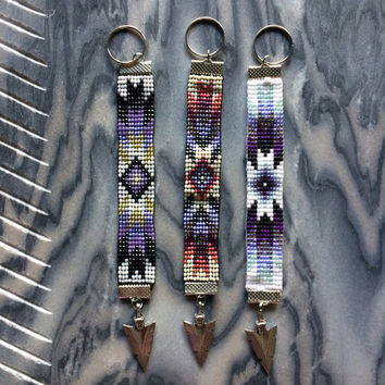 Sunburst Pattern Bead Loom Keychain with Arrowhead Charm