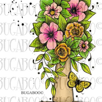New  Vase of Flowers Rubber Stamp Set, 00-924P8