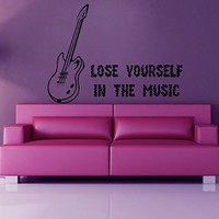 Wall Decor Vinyl Decal Sticker Guitar Words Lose Yourself in the Music Kg544
