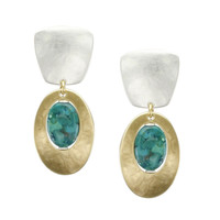 Marjorie Baer Clip Earrings in Brass and Silver with Turquoise