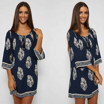 Blue Floral Print Tie-Neck Shift Dress