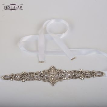 Best Price Fashion Luxury Elegant Women Crystal Rhinestones Sash Belt Wedding Bridal Sash Pearl Beading Handmade
