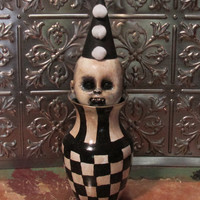 Creepy Vintage Halloween Horror Altered Art Circus Doll 2 Assemblage Cirque Checkerboard Glass Curiosity Lorcheenas/L.Cerrito