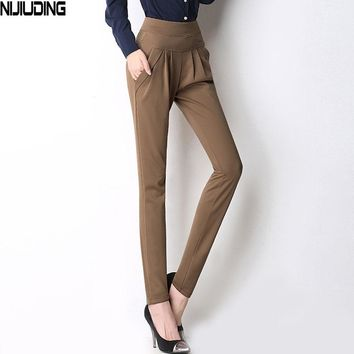 NIJIUDING Spring& Summer New Fashion Women Harem Pants Casual Plus Size Womens Formal Trousers Calf-length Pants S-6XL