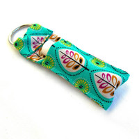 Teal and Purple Leaves Chapstick Keychain - Nature Lip Balm Holder Cozy