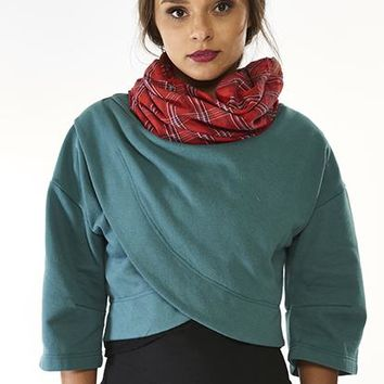 Teal Organic Crop Sweatshirt