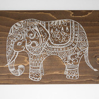 Stained Wood Painting - Reclaimed Wood Painting - Indian Elephant Painting - Elephant Decor - Elephant Art - Original Painting - Home Decor