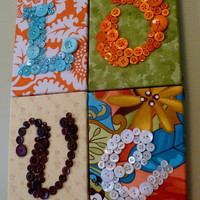 LOVE Button Wall Hanging by Letter by letterperfectdesigns