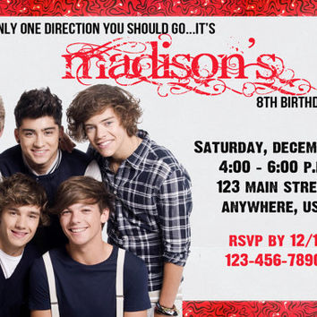 ONE DIRECTION 1D Birthday Party Invitation - Completely Customized