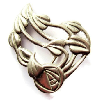 Vintage Ortak pewter brooch, Charles Rennie Mackintosh, Glasgow Rose, Art Nouveau style. #63.