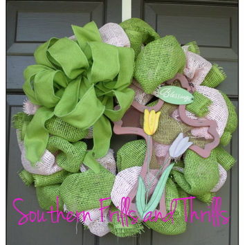Spring Burlap Wreath with Cross