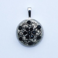 Silver Glitter Crystal Clay is the Background for this Beautiful Vintage Black Crystal and Metal Work Piece, Pendant, Necklace