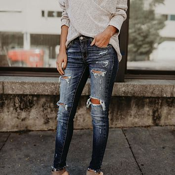 Jeans Skinny Slim-Fit Ripped  Fitting Pants