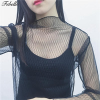Febelle Sexy Women Hollow Mesh Net Summer Blouse Shirt Casual Transparent Chemise Femme Tops Party blusas feminina 2017