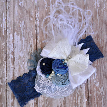 Denim Diva boutique couture headband-perfect for fall-M2M WDW Lucy tunic-multi shades of blue silk rosettes-photo prop-wedding-all sizes