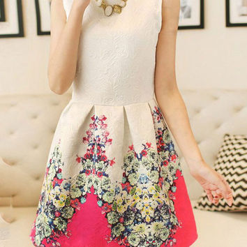 Flower Printed Sleeveless High Waist A-Line Tutu Dress