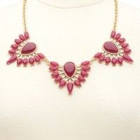 Three Cluster Fanned Gem Bib Necklace by Charlotte Russe - Gold
