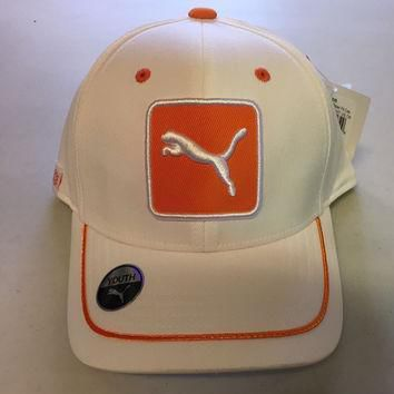 puma youth cat patch relax fit adjustable hat cap osfa whit orange  number 1