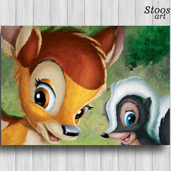 Fawn and Skunk print disney nursery decor bambi painting