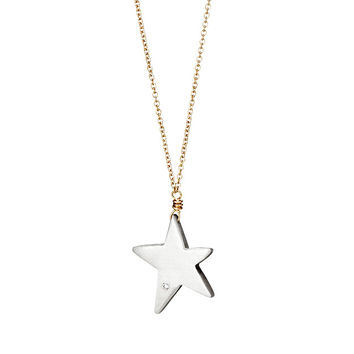 Wish Upon A Star Diamond Necklace | Silver Pendant Jewelry