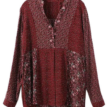 Burgundy Floral Long Sleeve Blouse