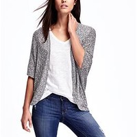 Open-Front Ribbed Cocoon Cardigan for Women