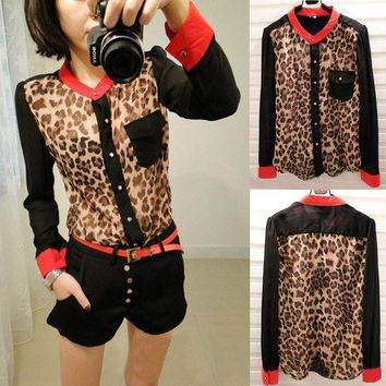 PEAPGB2 2015 Hot Sale Women Casual Chiffon Ventilate Shirts Leopard Printed Sheer Blouse Long Sleeve Shirt Top