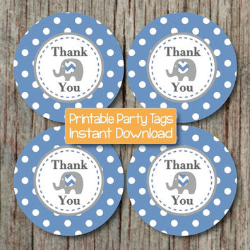 INSTANT DOWNLOAD Baby Shower Birthday Party Printable Favor Tags Elephant Decorations Ocean Blue Grey diy Baby Shower Prinable Stickers 101