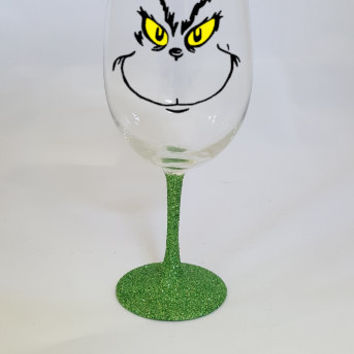 The Grinch Wine Glass Christmas Wine Glass, Christmas Wine Glasses, Holiday Wine Glass, Holiday Gifts, Stocking Stuffer