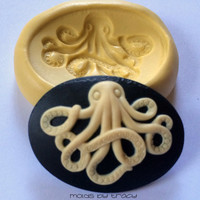 40X30MM Spooky Octopus Cameo Silicone Mold Mould Soap Mold Resin Mold Polymer Clay Mold Fondant Mold Candy Gumpaste Molds Halloween Molds