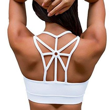 YIANNA Women's Padded Sports Bra Cross Back High Impact Wirefree Strappy Workout Activewear