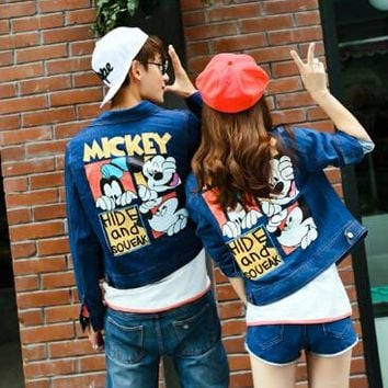 2017 autumn and winter new Korean fashion cartoon Mickey Mouse washed denim clothing couple jeans jacket
