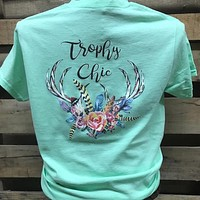 Southern Chics Trophy Chics Deer Skull Flowers Girlie Bright T Shirt